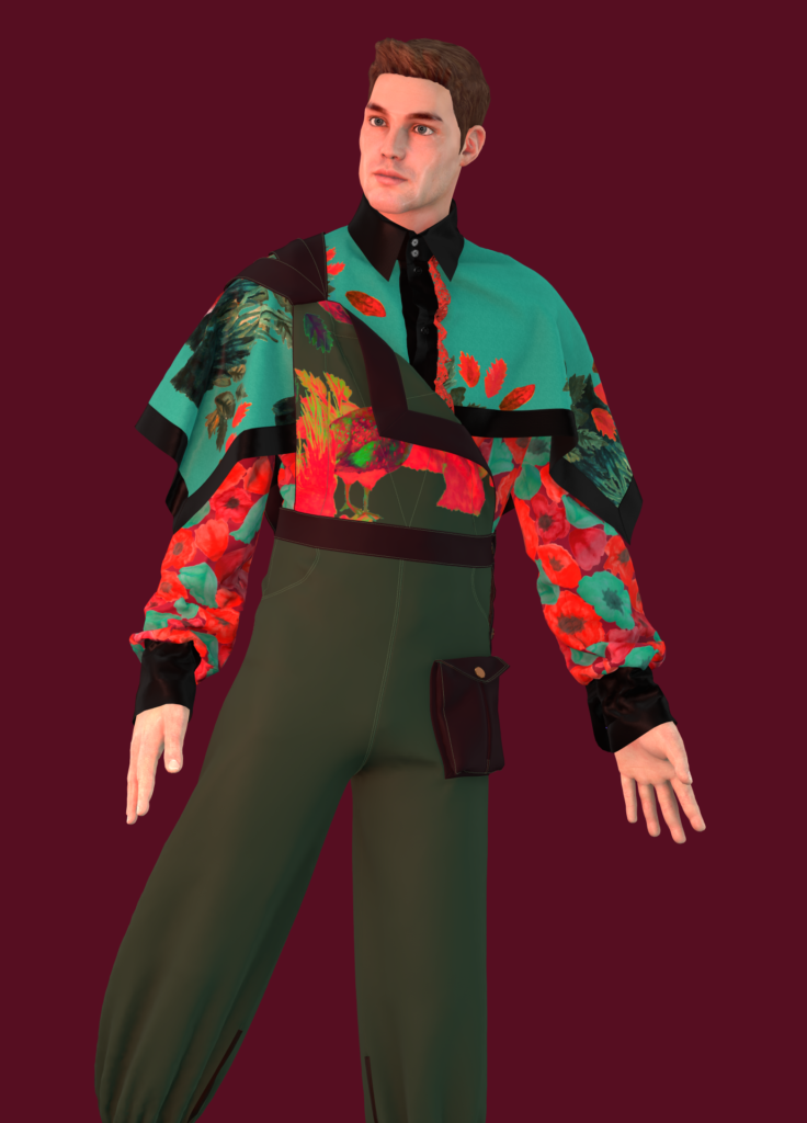 Floral Capelet Shirt and Woodland Tri-Strap Overalls